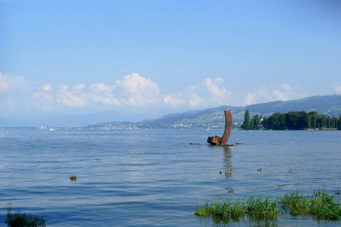 Balance, Cortenstahl 2011, H 6,5 m, since 2012 permanently, installed on Lake of, Constance Swiss Part